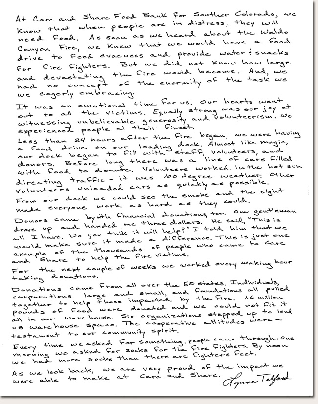 Lynne Telford Photo Story Letter