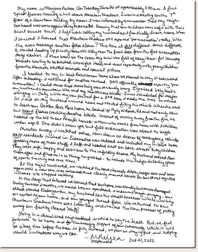 Marjorie Noleen Photo Story Letter