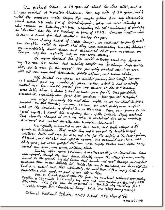 Richard Oliver Photo Story Letter